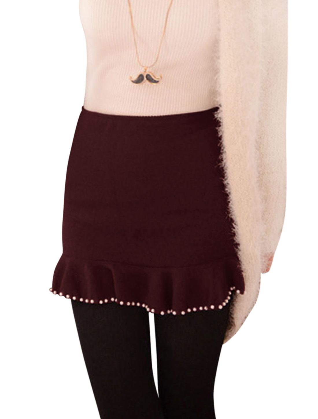 Woman Beads Decor Ruffled Hem Over Hip Burgundy Knit Skirt M