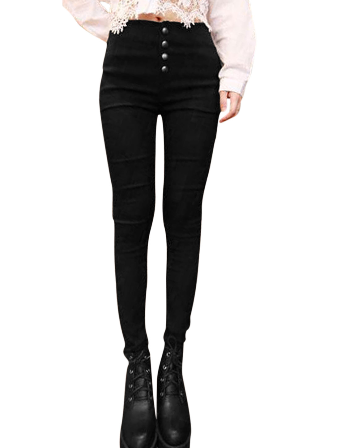 Women Button Closure High Waist Skinny Casual Pencil Pants Black XS