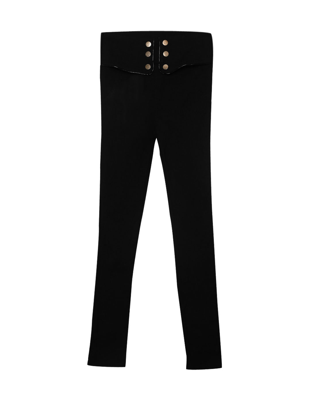 Women High Waist Button Decor Skinny Casual Pencil Pants Black XS