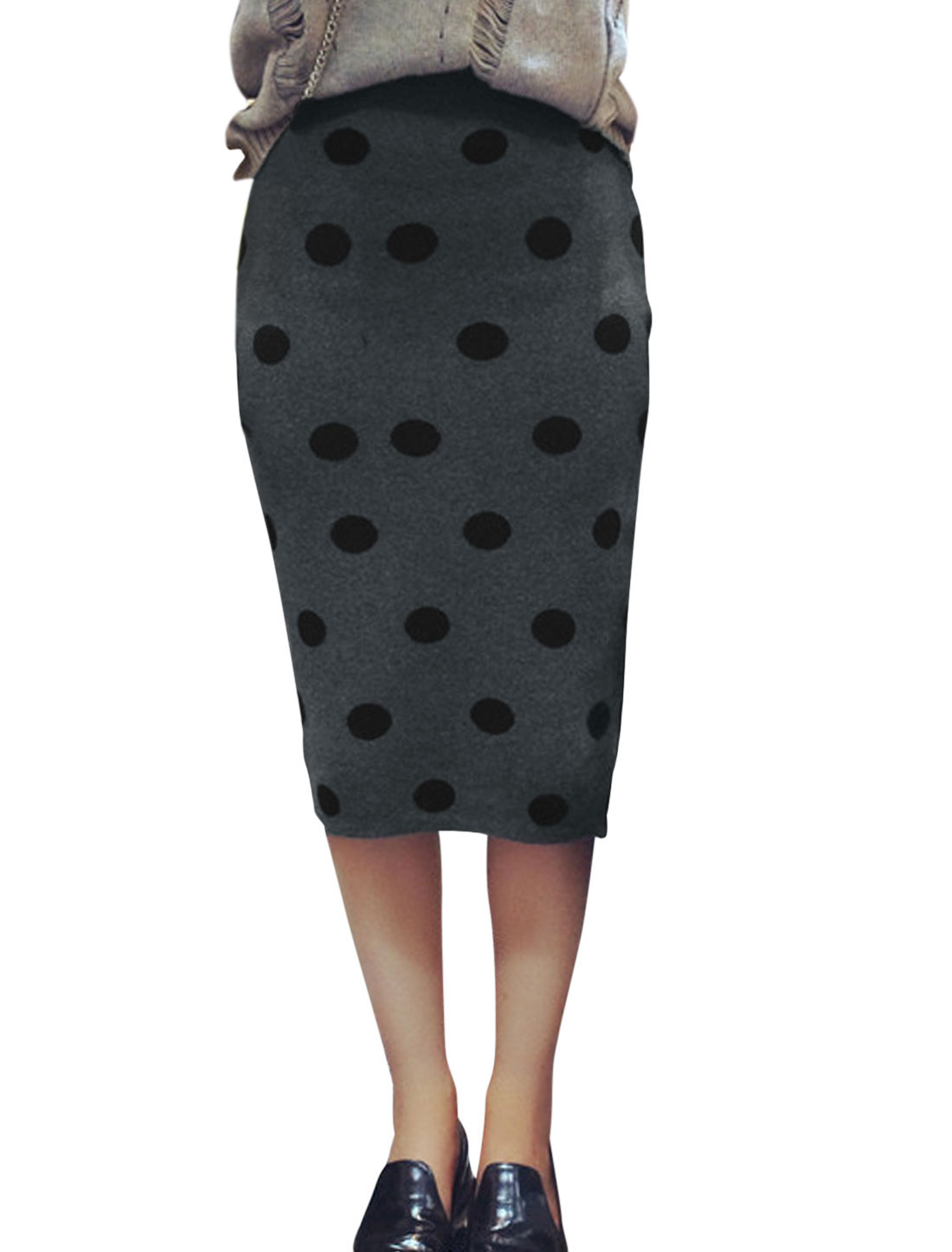 Ladies Dark Gray Mid Rise Dots Pattern Elastic Waist Casaul Knitted Skirt XS