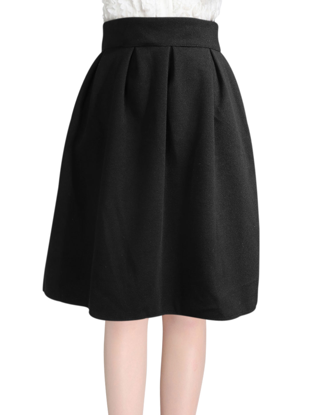 High Waist Half Lined Casual Worsted Full Skirt for Women Black M