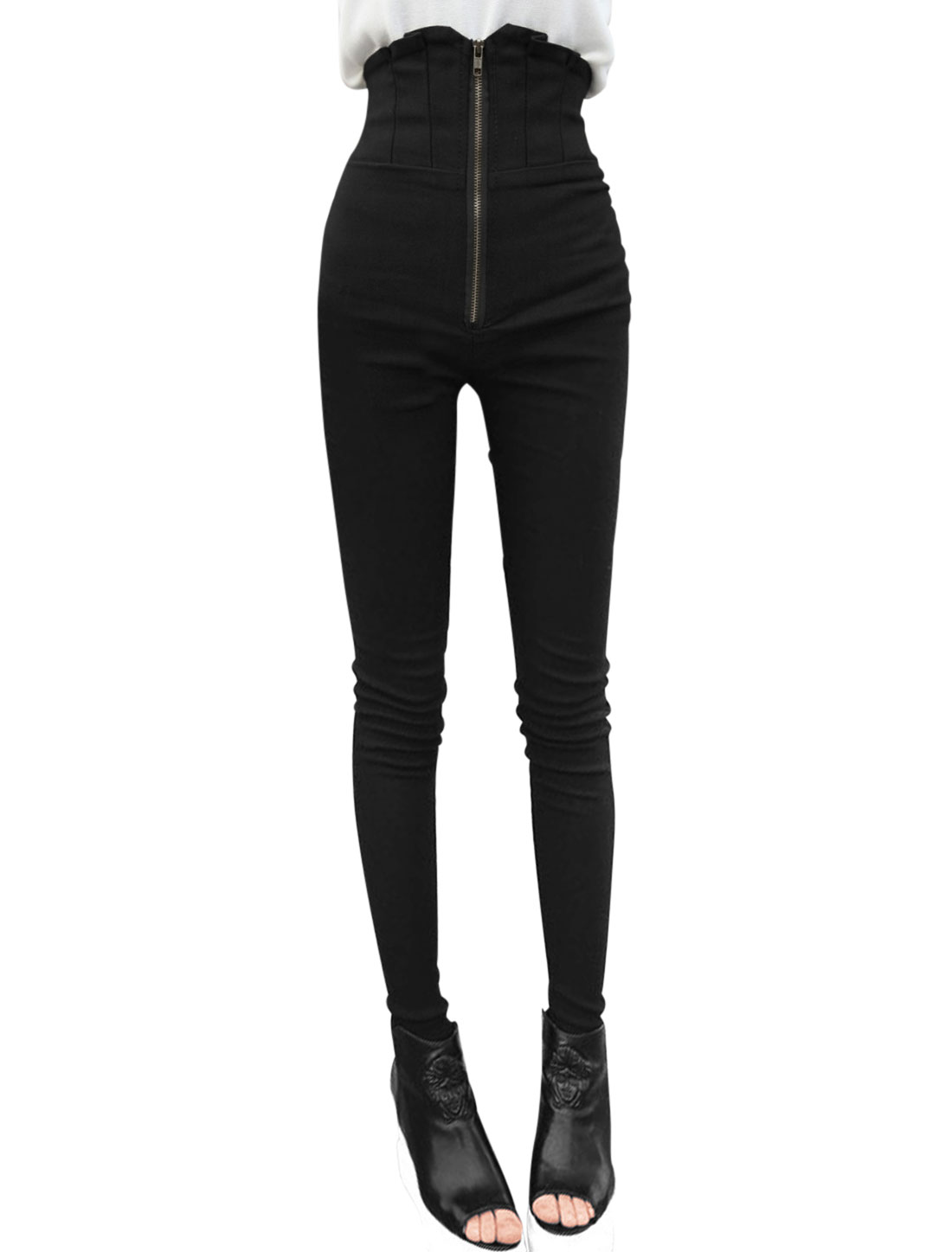 Women Black High Waist Zip Fly Mock Hip Pockets Skinny Casaul Pants XS