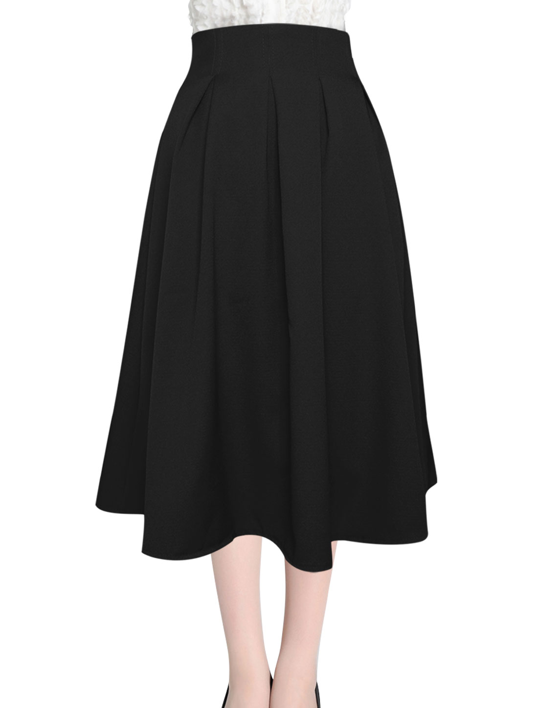 High Waist Pleated New Style Full Skirt for Women Black M