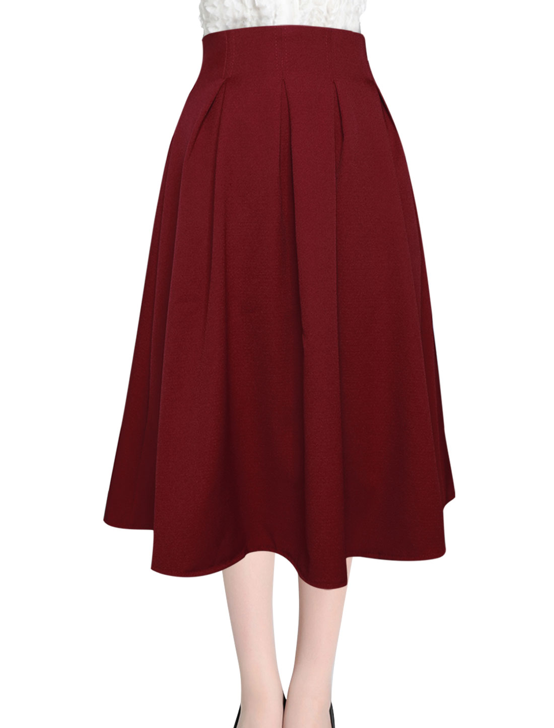 Ladies High Wasit Half Lined Fashion Full Skirt Burgundy M