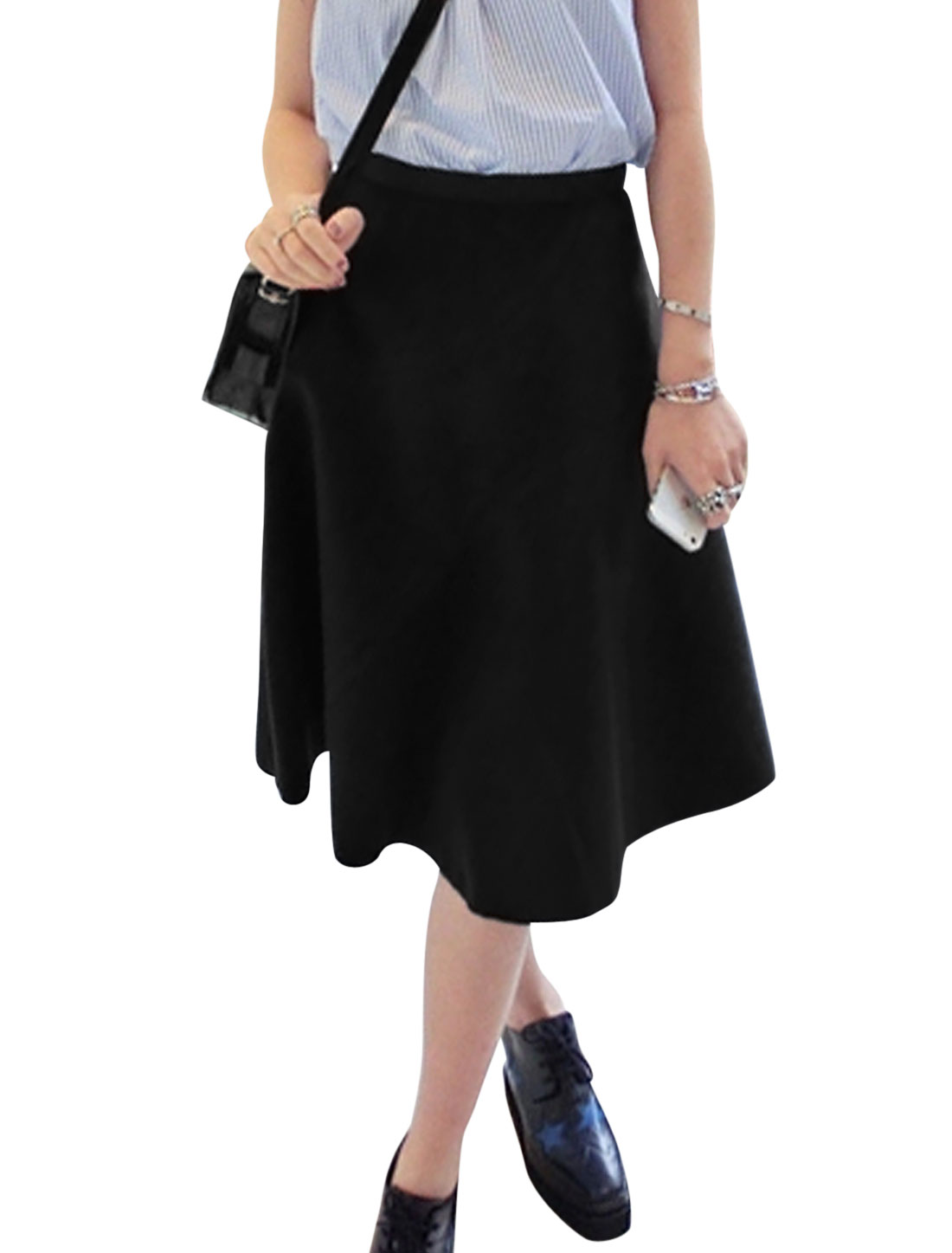Ladies Black Mid Rise Elastic Waist Leisure Full Skirt M