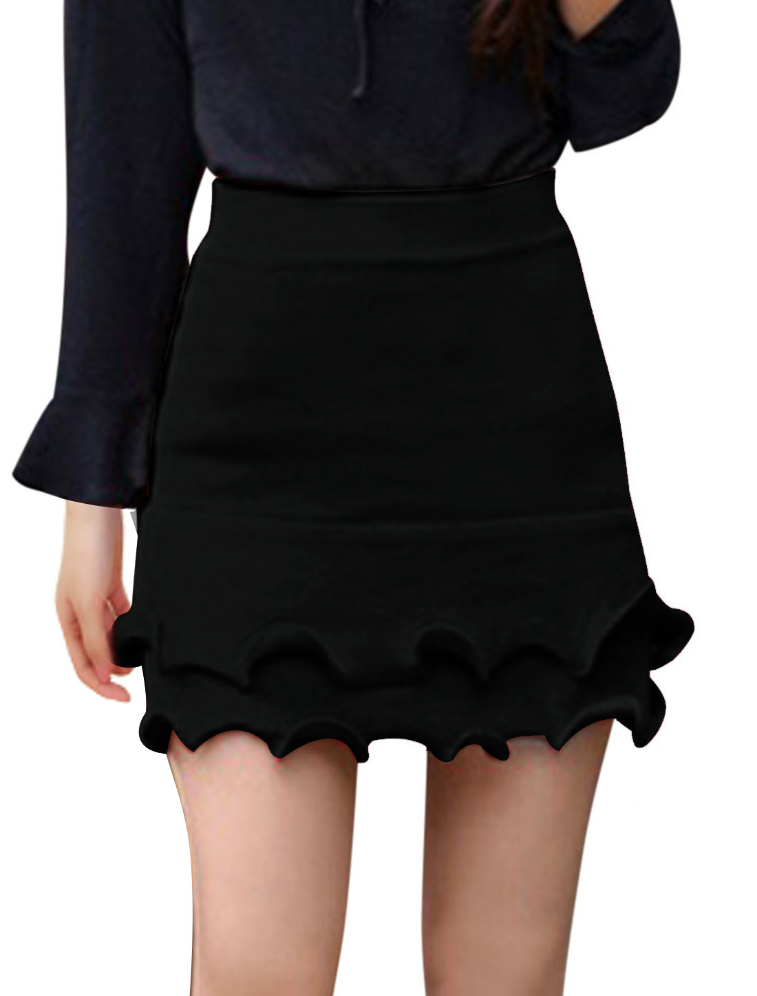 Ladies Black Mid Rise Elastic Waist Ruffle Trim Leisure Knitted Skirt XS