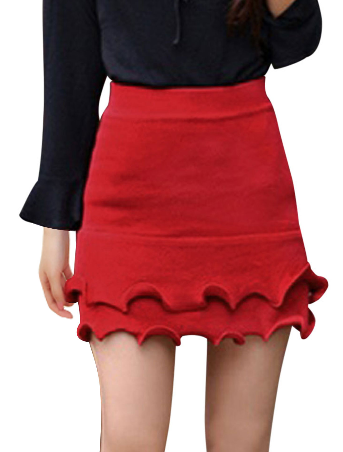Ladies Red Mid Rise Elastic Waist Flounced Trim Casaul Knitted Skirt XS