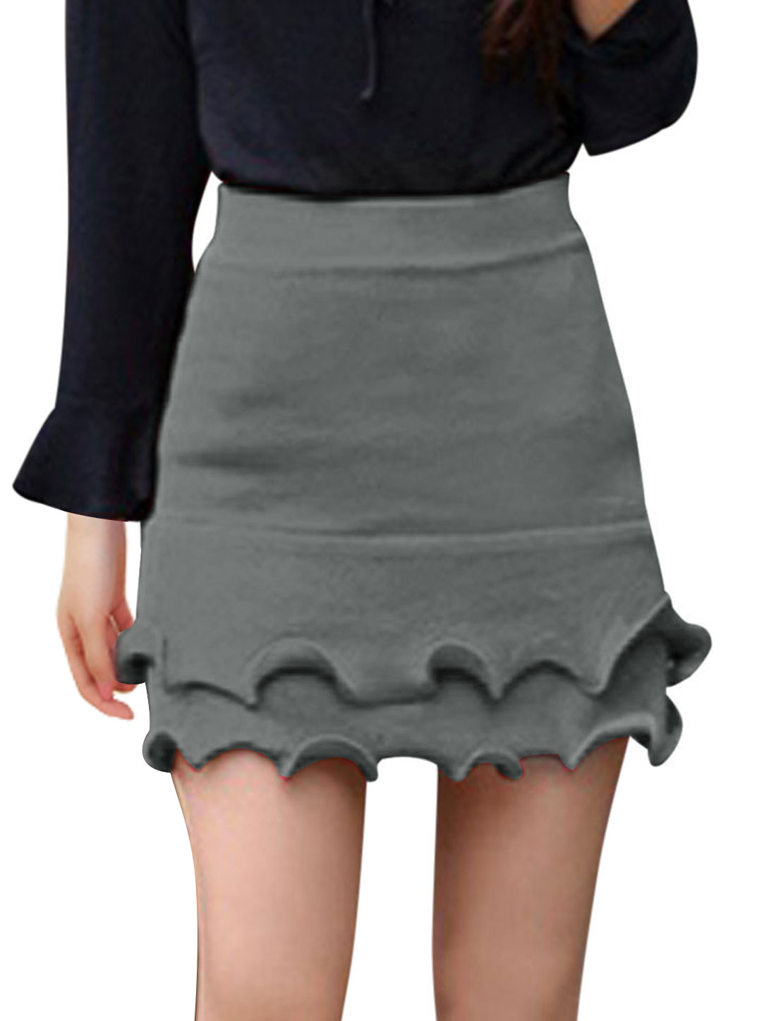 Ladies Gray Mid Rise Elastic Waist Ruffle Trim Stretchy Knitted Skirt XS