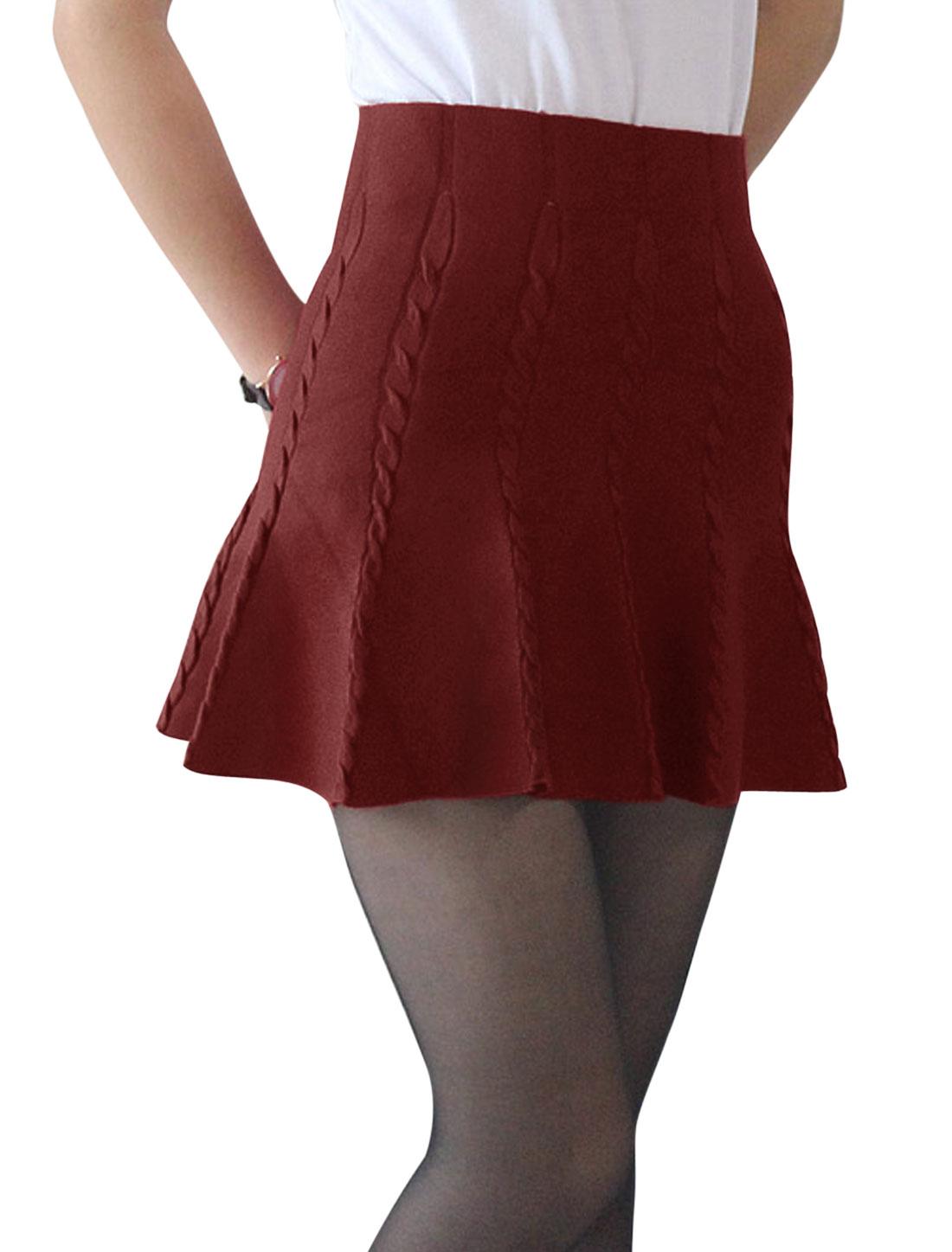 Women High Waist Braided Design Mini Knit Full Skirt Burgundy XS