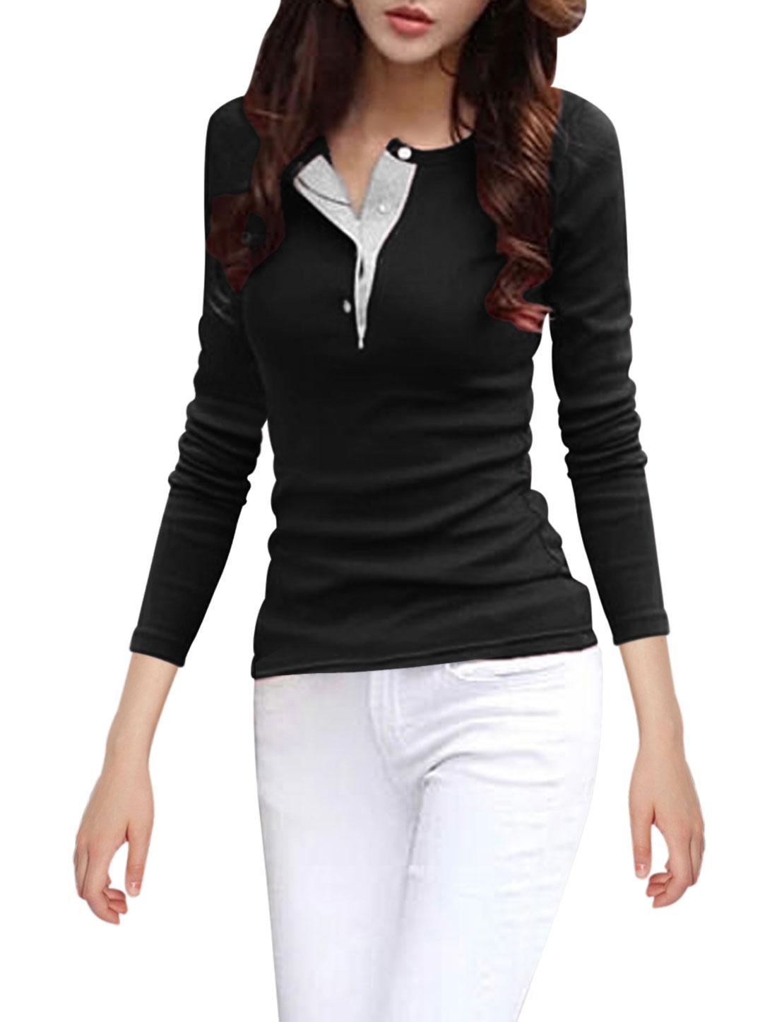 Women Round Neck Button Closed Upper Heavy Shirts Black M