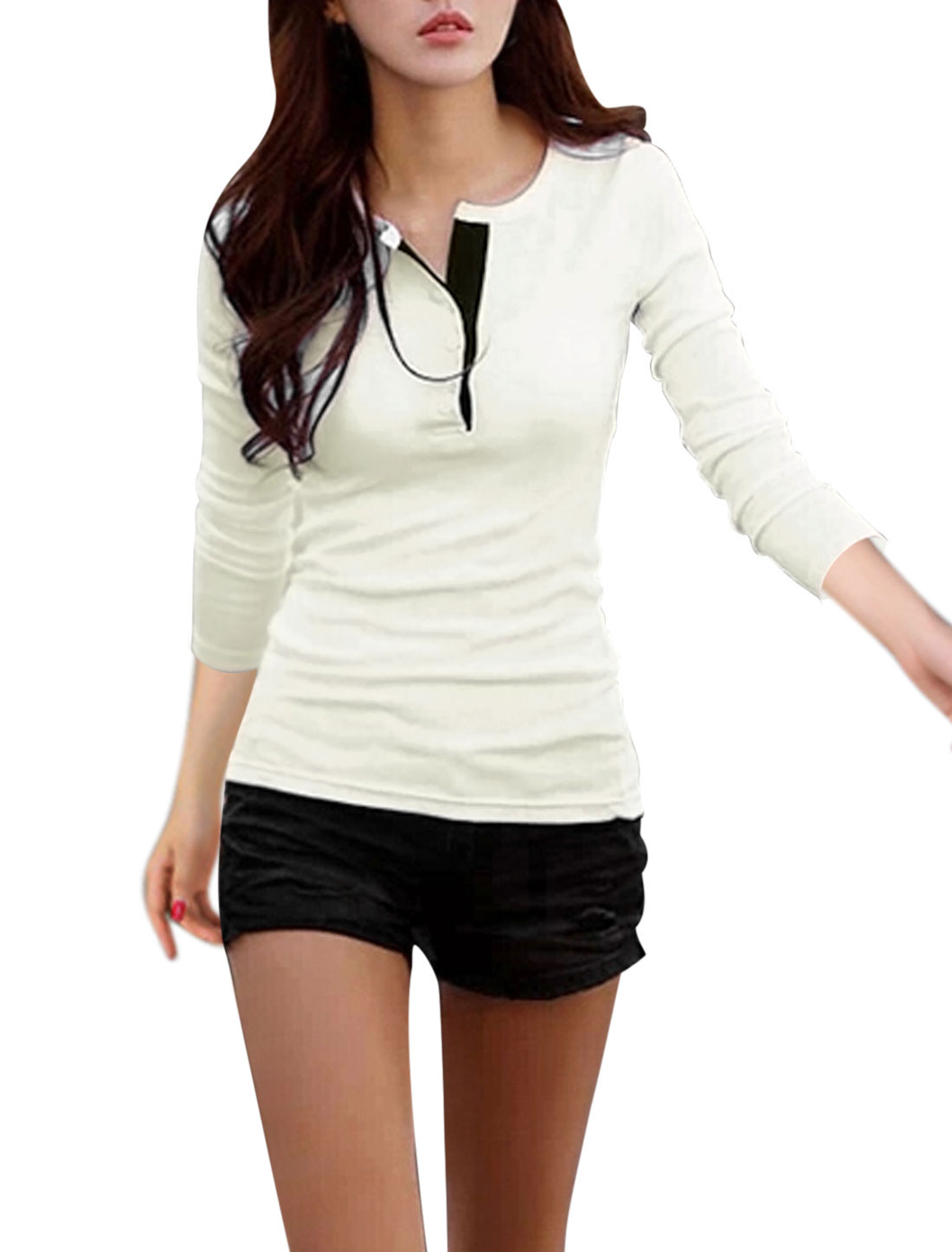 Woman Long Sleeves Button Closed Upper Casual Beige Shirts M