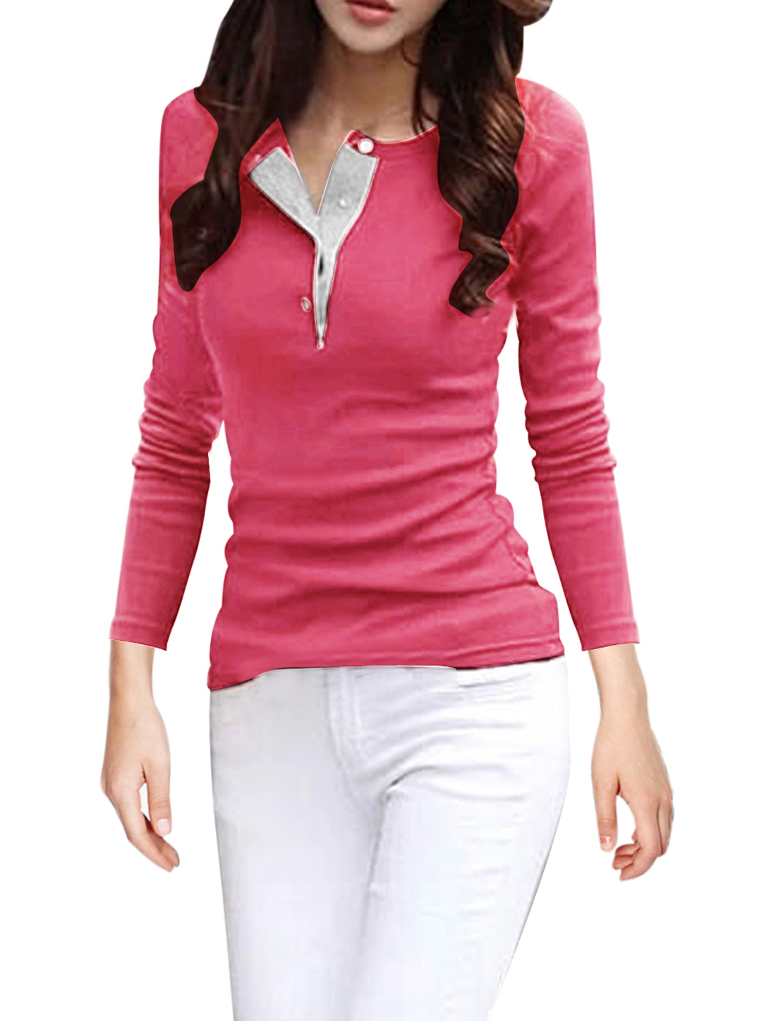 Button Closure Upper Round Neck Fuchsia Shirts for Women M
