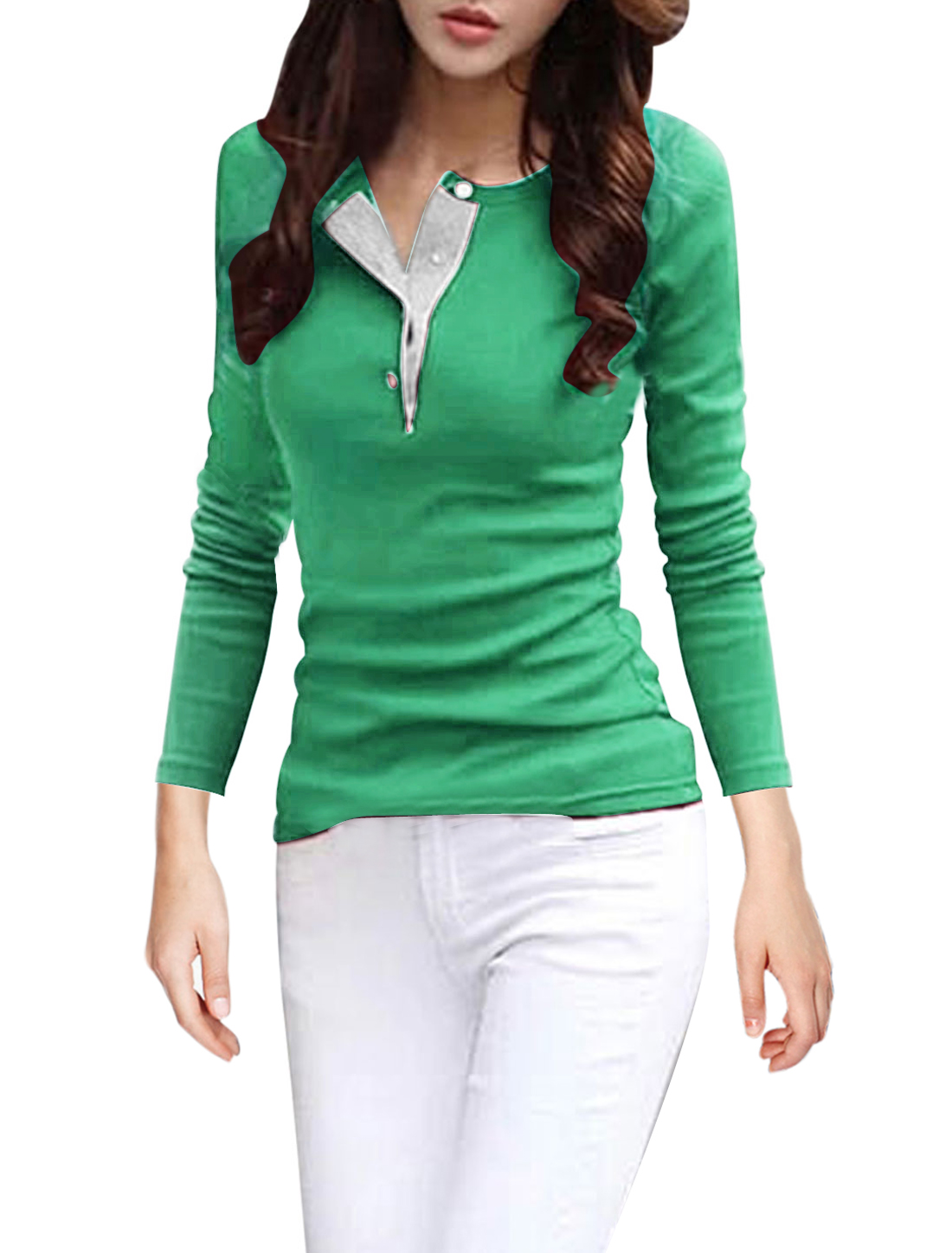 Full Sleeves Soft Lining Green Shirts for Woman M