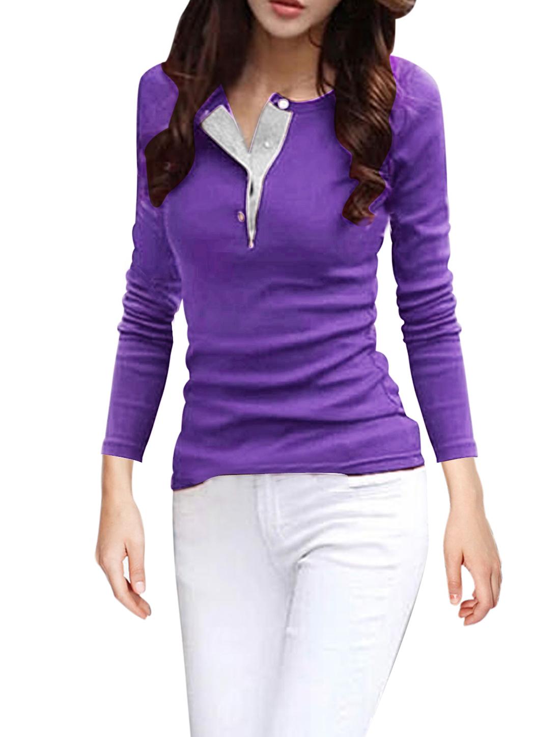 Women Soft Lining Round Neck Full Sleeve Chic Purple Shirts M