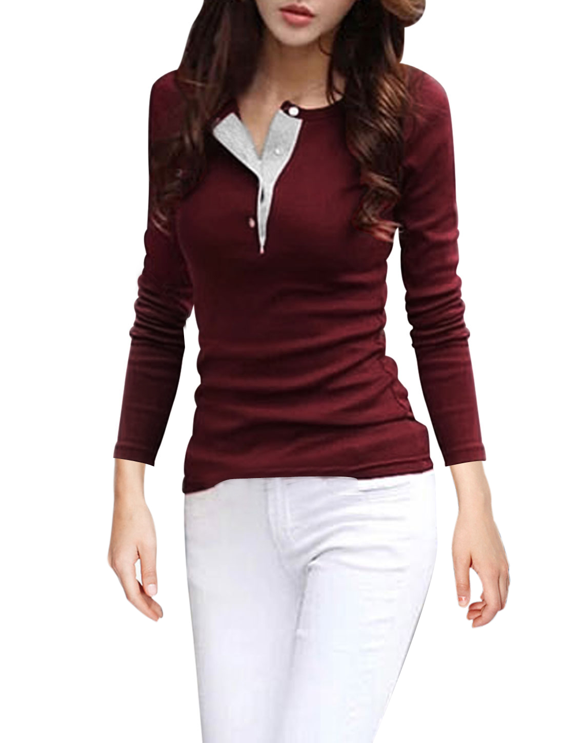 Ladies Long Sleeves Pullover Round Neck Leisure Burgundy Shirts M