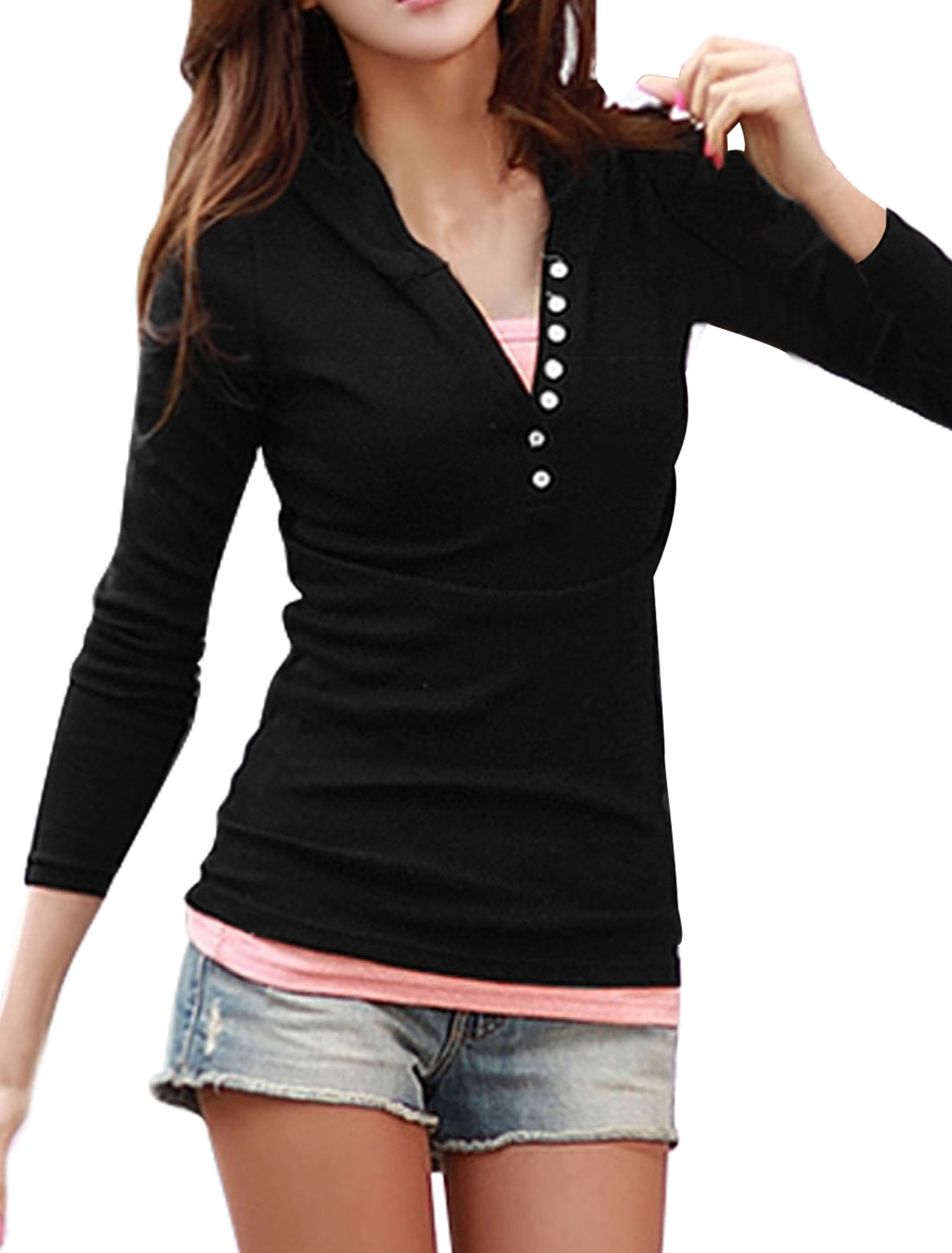 Women Long Sleeves Button Closed Upper Hooded Shirt Black M