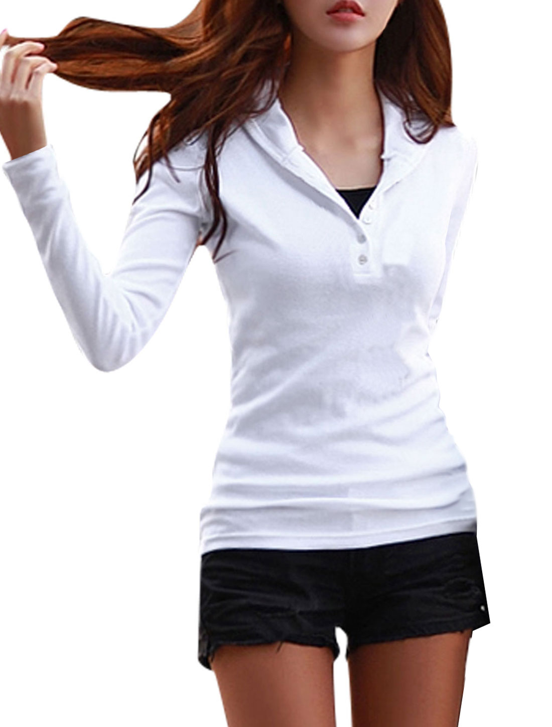 Woman Full Sleeves Slim Fit White Hooded Shirt M
