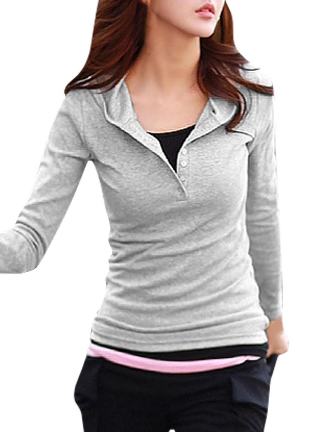 Button Closure Upper Slim Fit Light Gray Hooded Shirt for Woman M