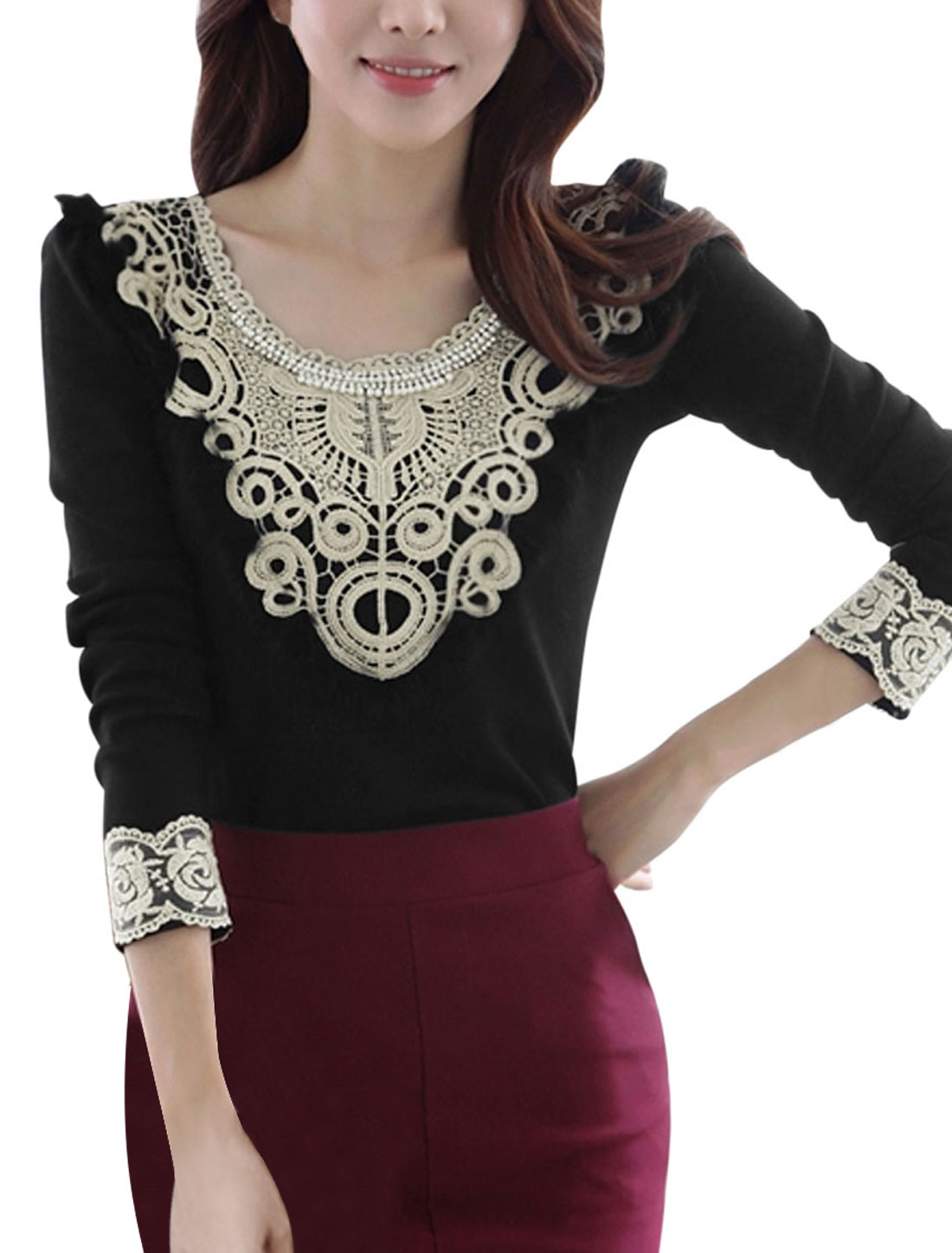 Women Lace Panel Round Neck Long Sleeve Shirts Black S