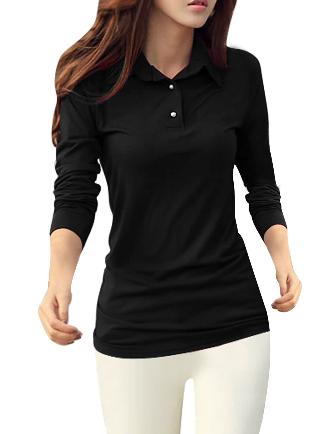 Women Point Collar V-neckline Button Upper Shirts Black M
