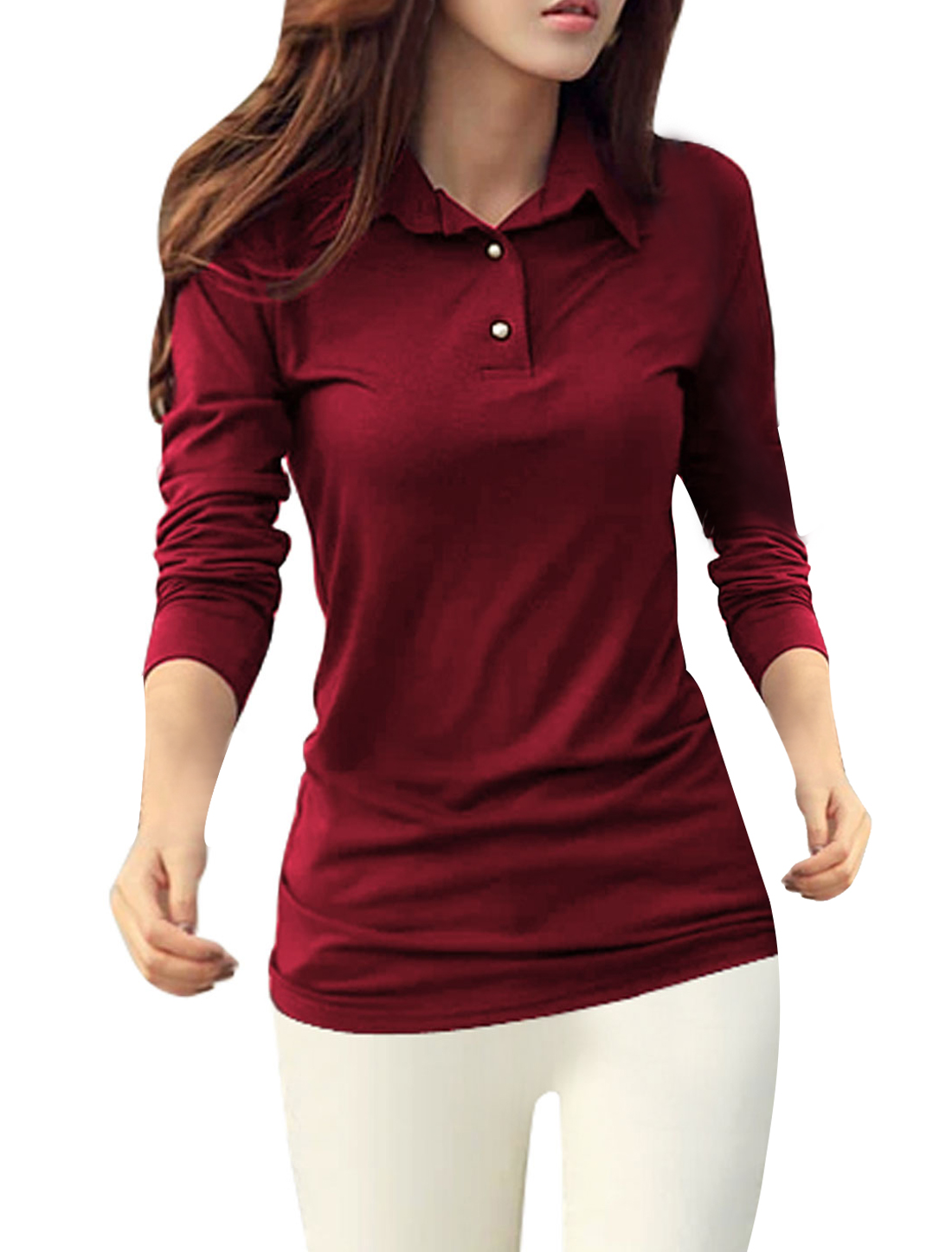 Woman Long Sleeves Pullover Slim Fit Burgundy Shirts M
