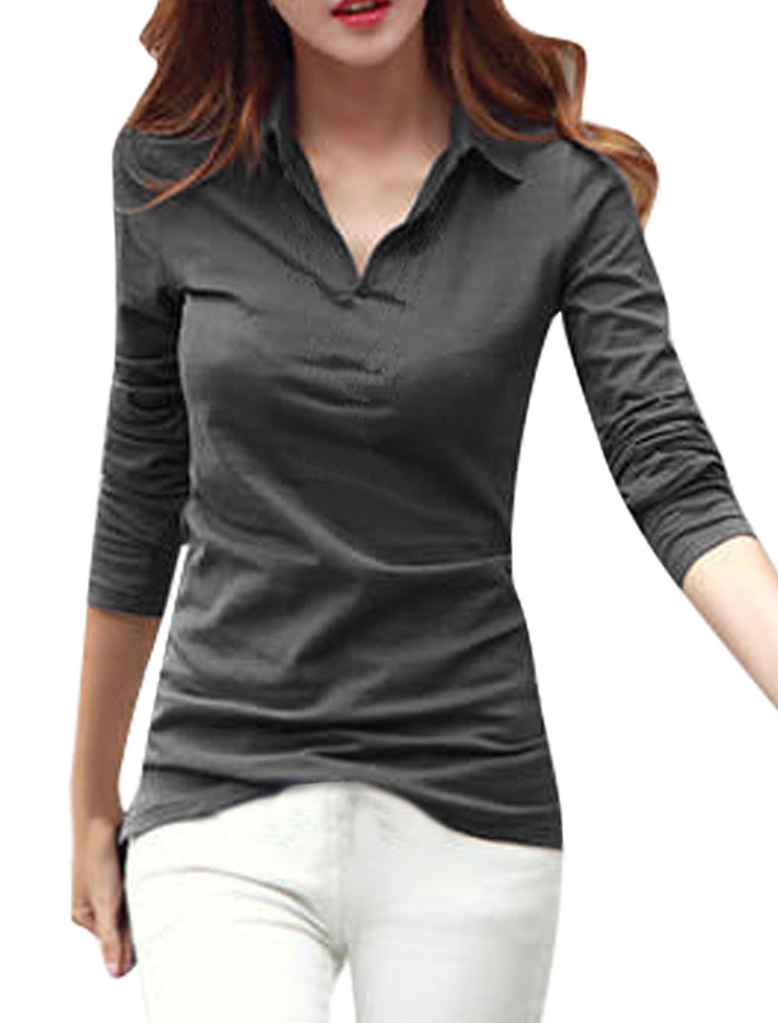 Woman Long Sleeves Pullover Slim Fit Ebony Shirts S