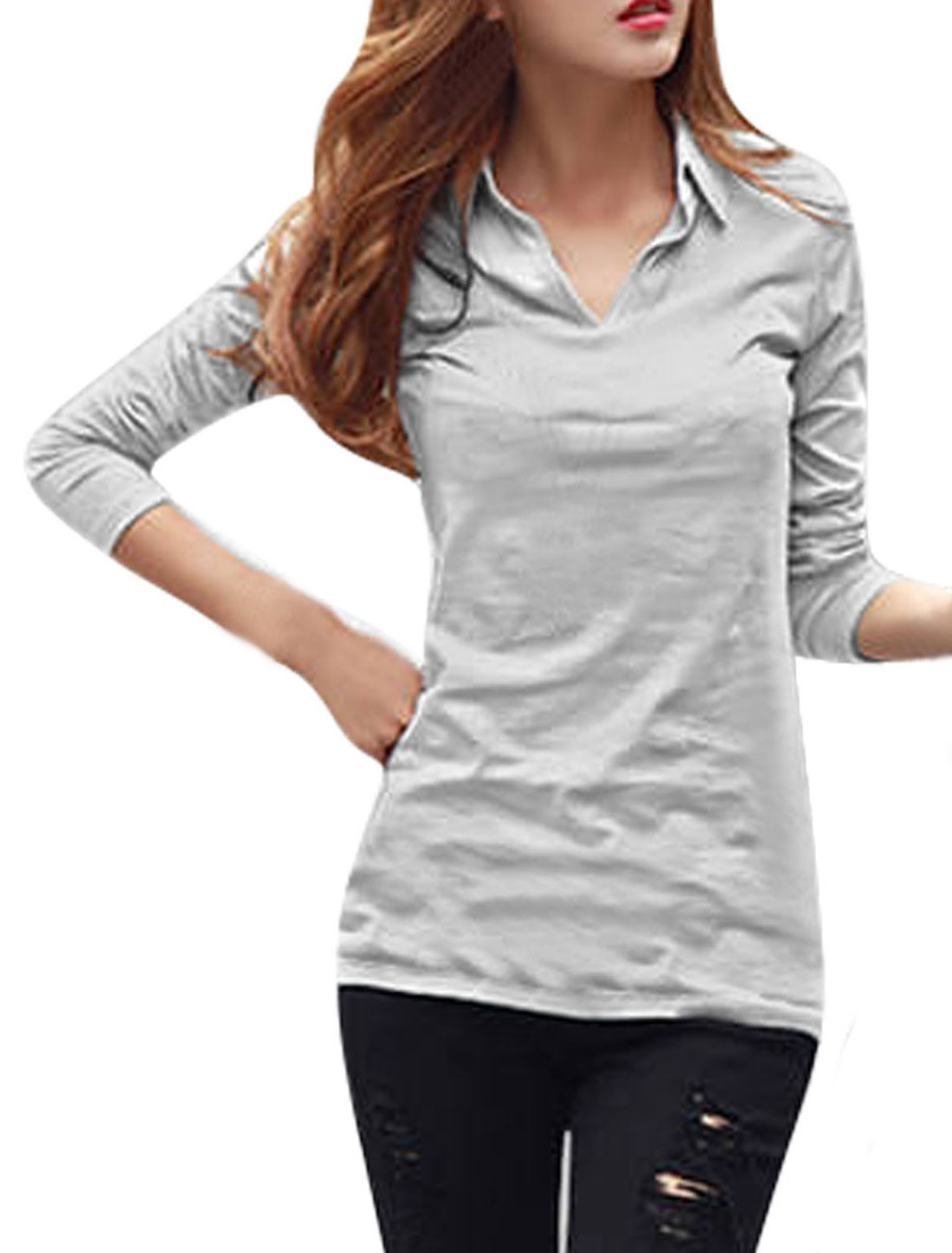 Point Collar Long Sleeves Light Gray Shirts for Women S