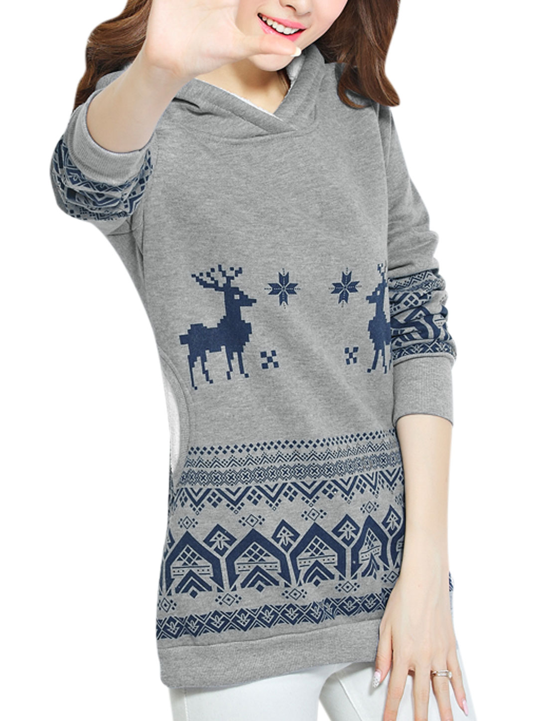 Geometric Printed Long Sleeves Casual Tunic Sweatshirt for Women Gray XS