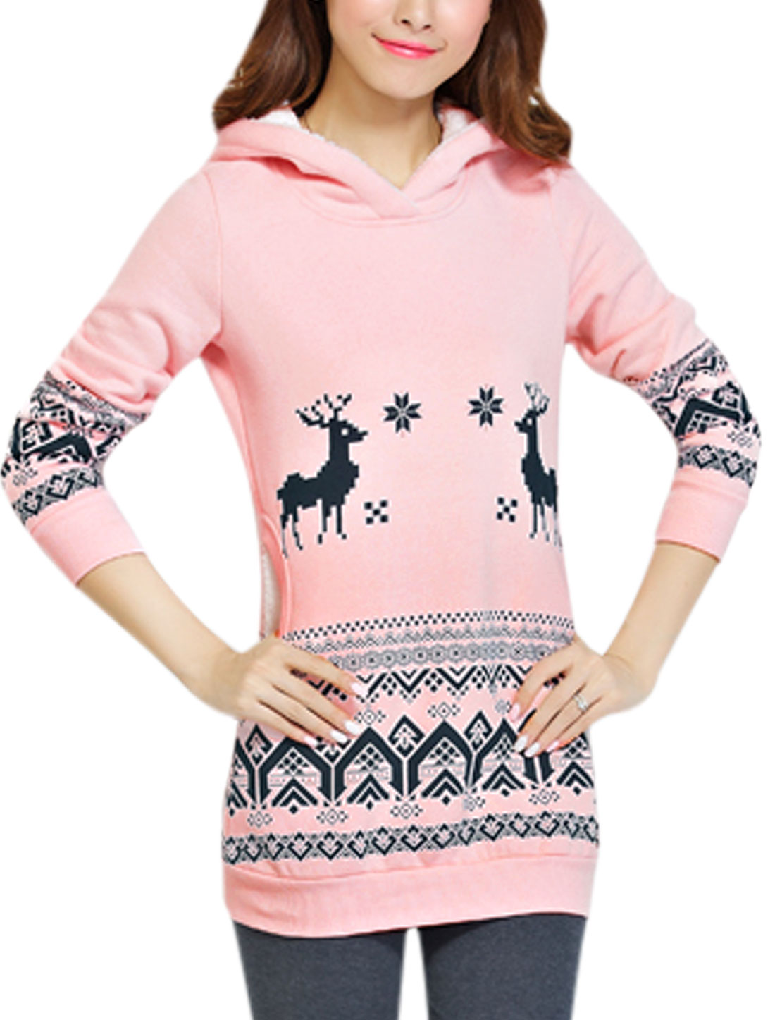 Double Side Pockets Long Sleeves Leisure Tunic Sweatshirt for Women Pink XS