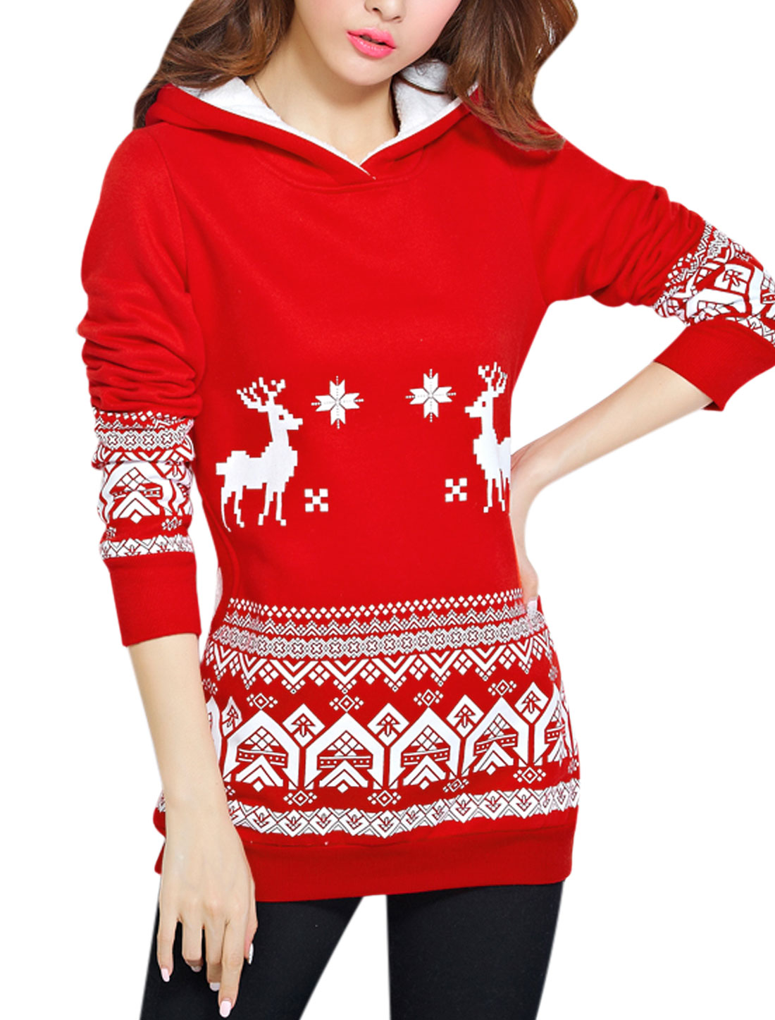 Hooded Two Side Pockets Leisure Tunic Sweatshirt for Women Red XS