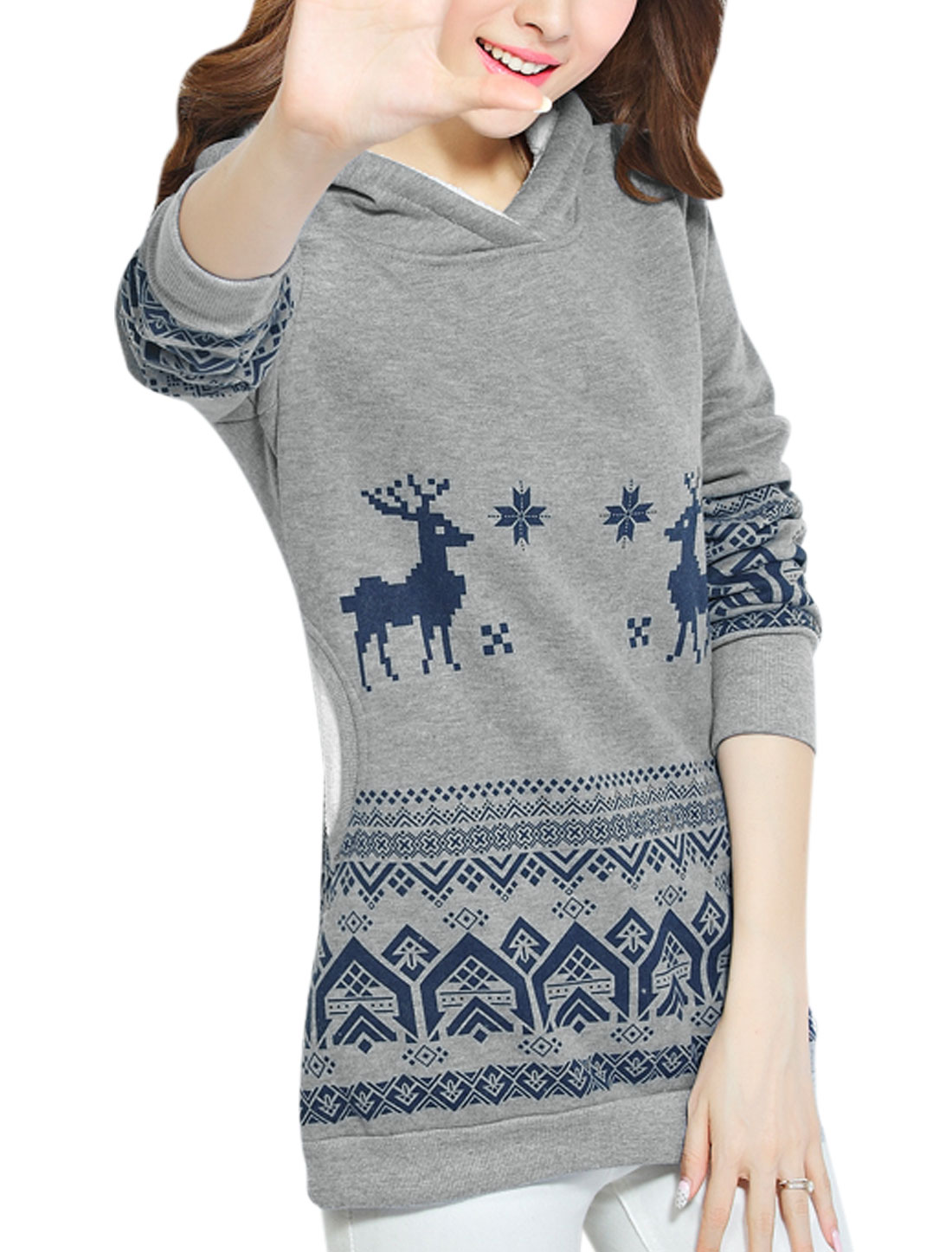 Soft Lined Hood Long Sleeves Pullover Casual Sweatshirt for Women Gray L