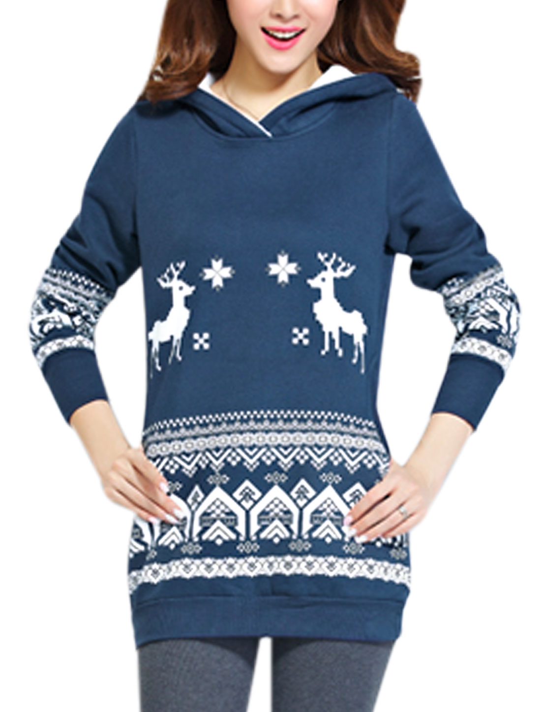 Long Sleeves Deer Printed Detail Stylish Sweatshirt for Women Navy Blue L