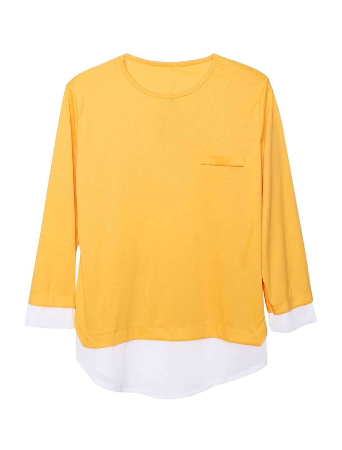 Women Panel Design Layered Shirts Tunic Shirt Yellow M