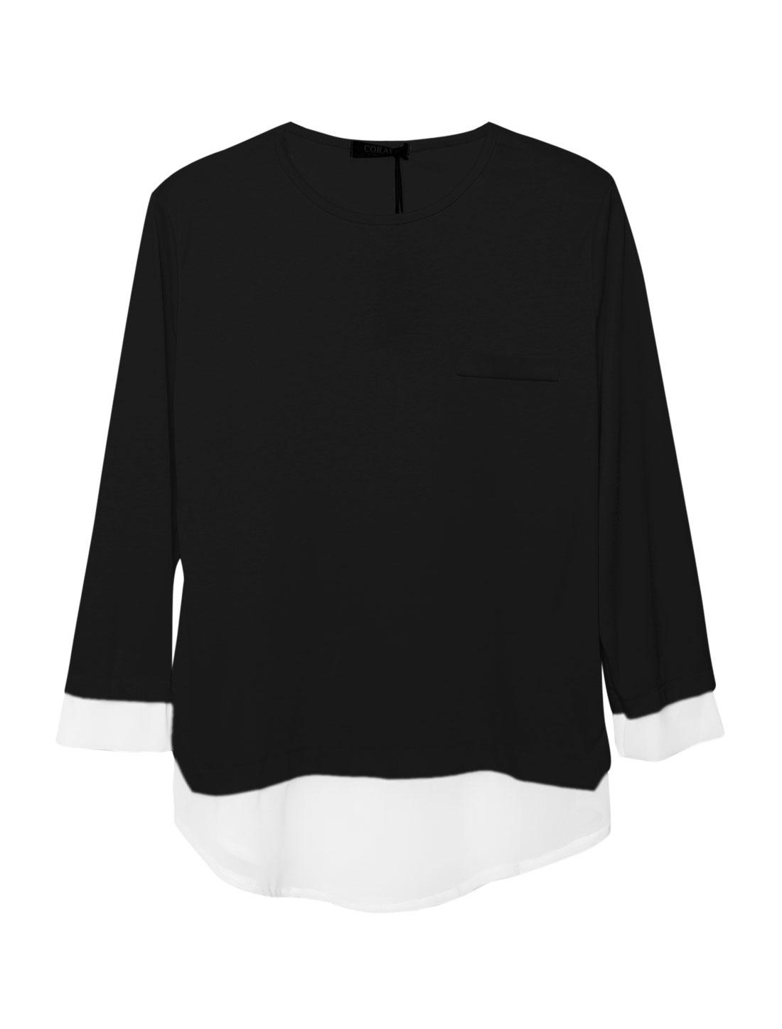 Woman Long Sleeves Chiffon Panel Black Tunic Shirt M