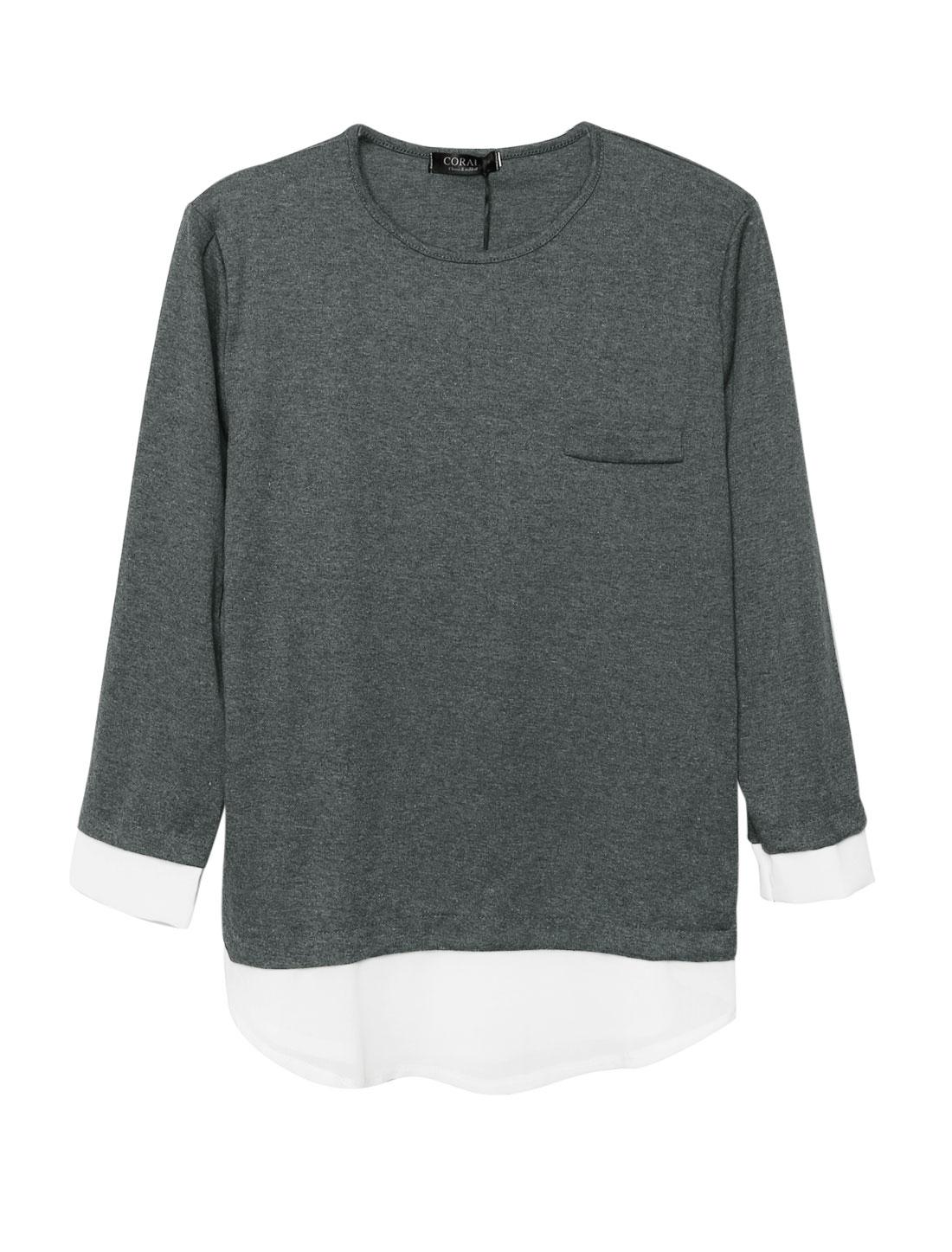Ladies Pullover Panel Design Loose Dark Gray Tunic Shirt M