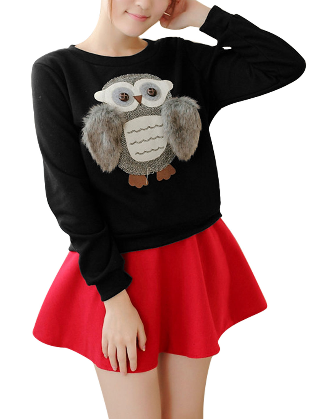 Women Owl Applique Long Sleeve Soft Lined Sweatshirt Black S