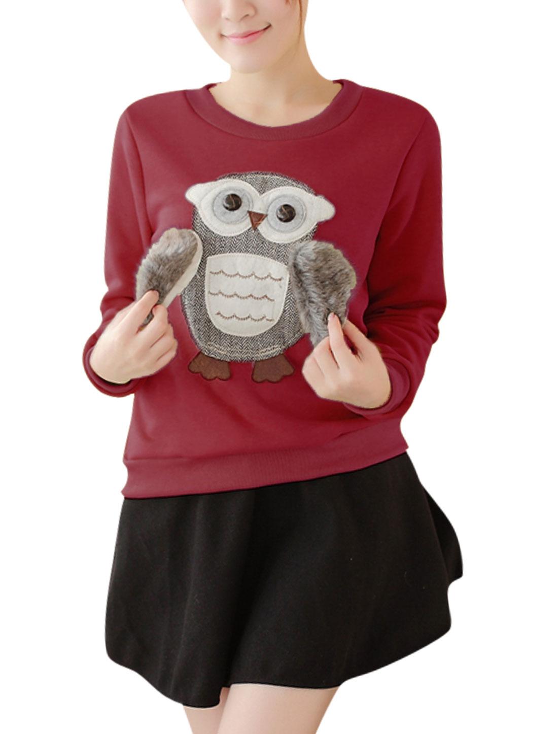 Woman Round Neck Owl Applique Burgundy Sweatshirt S