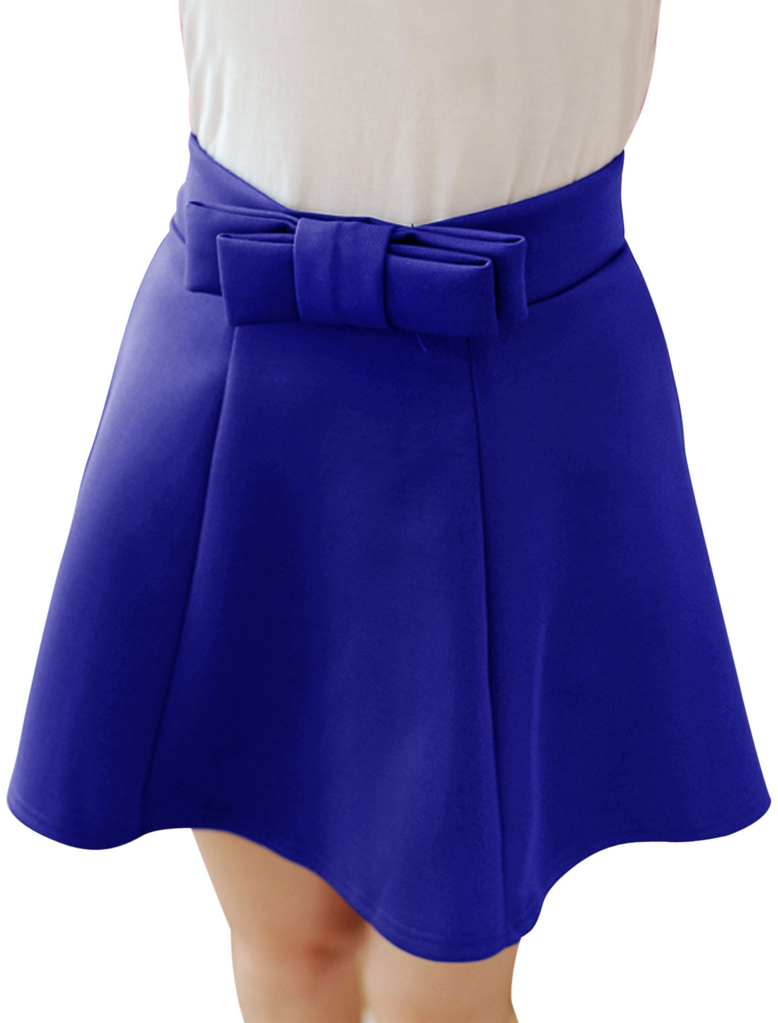 Women Bowknot Decor Front Panel Design Mini Skirt Royal Blue XS