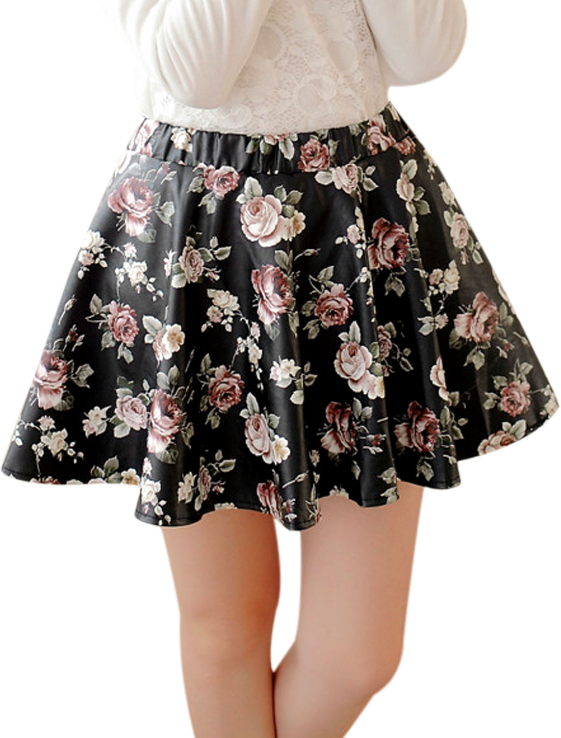 Natural Waist Flower Prints Mini Skirt for Women Navy Blue Multi Color S