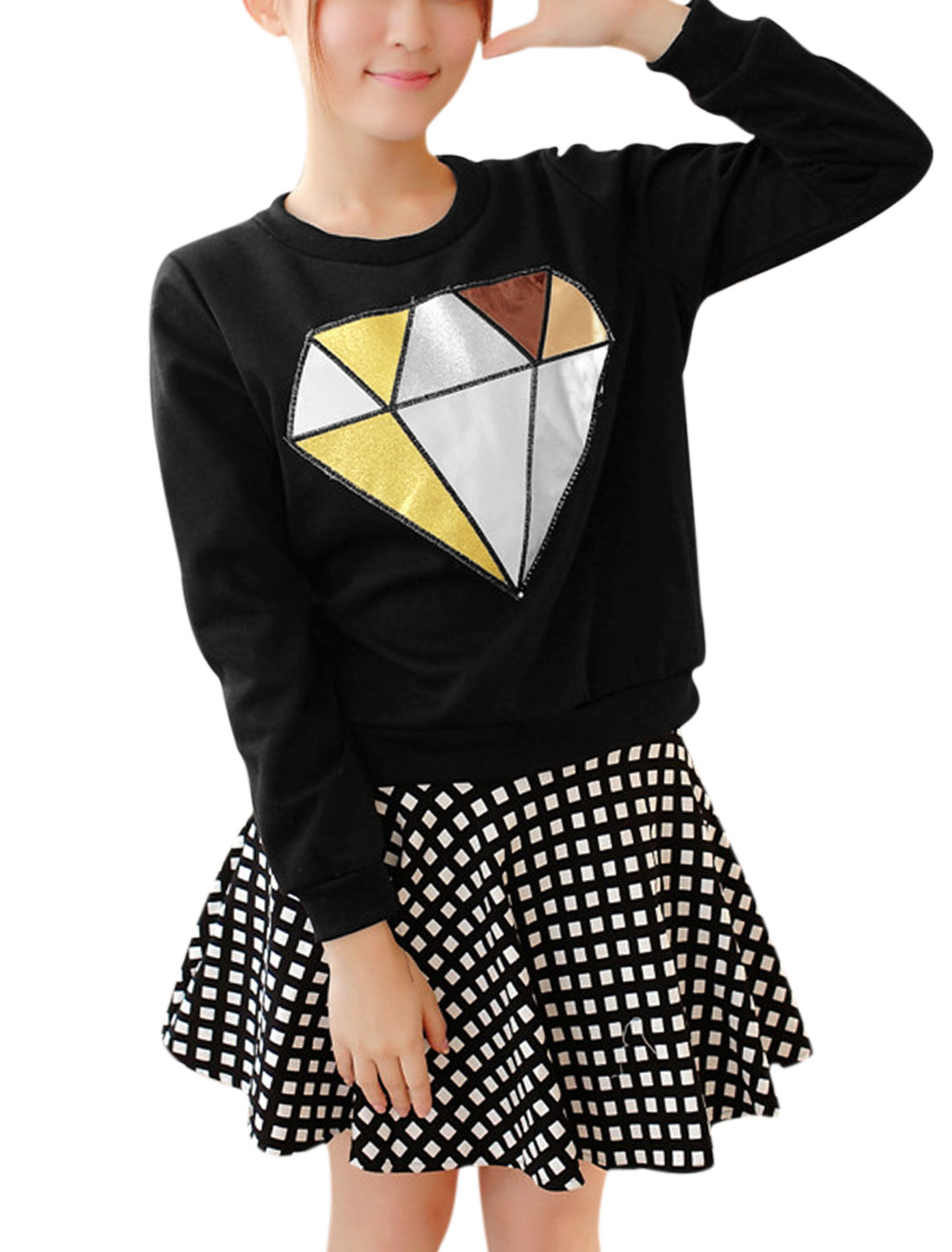 Round Neck Diamond Applique Pullover Casual Sweatshirt for Women Black XS