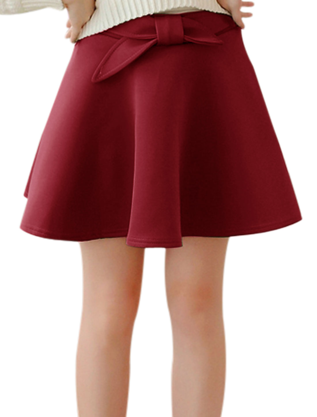 High Waist Bowknot Deocr Casual A-Line Skirt for Women Burgundy XS
