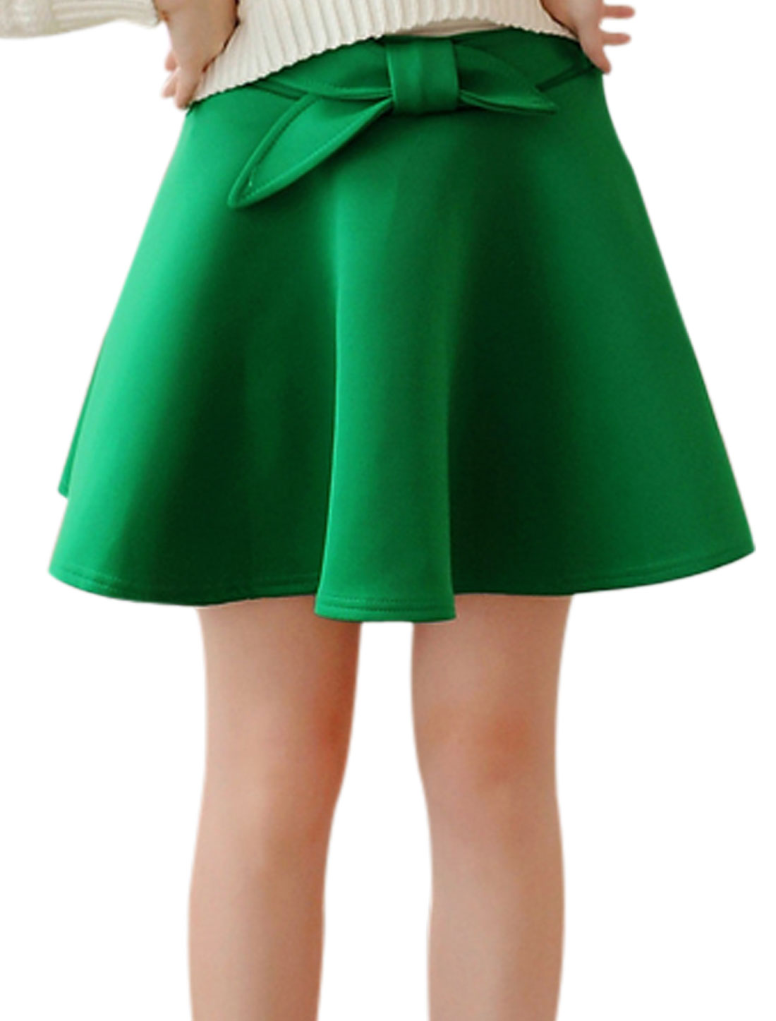 Ladies Bowknot Decor Unlined Casual Mini Skirt Dark Green XS