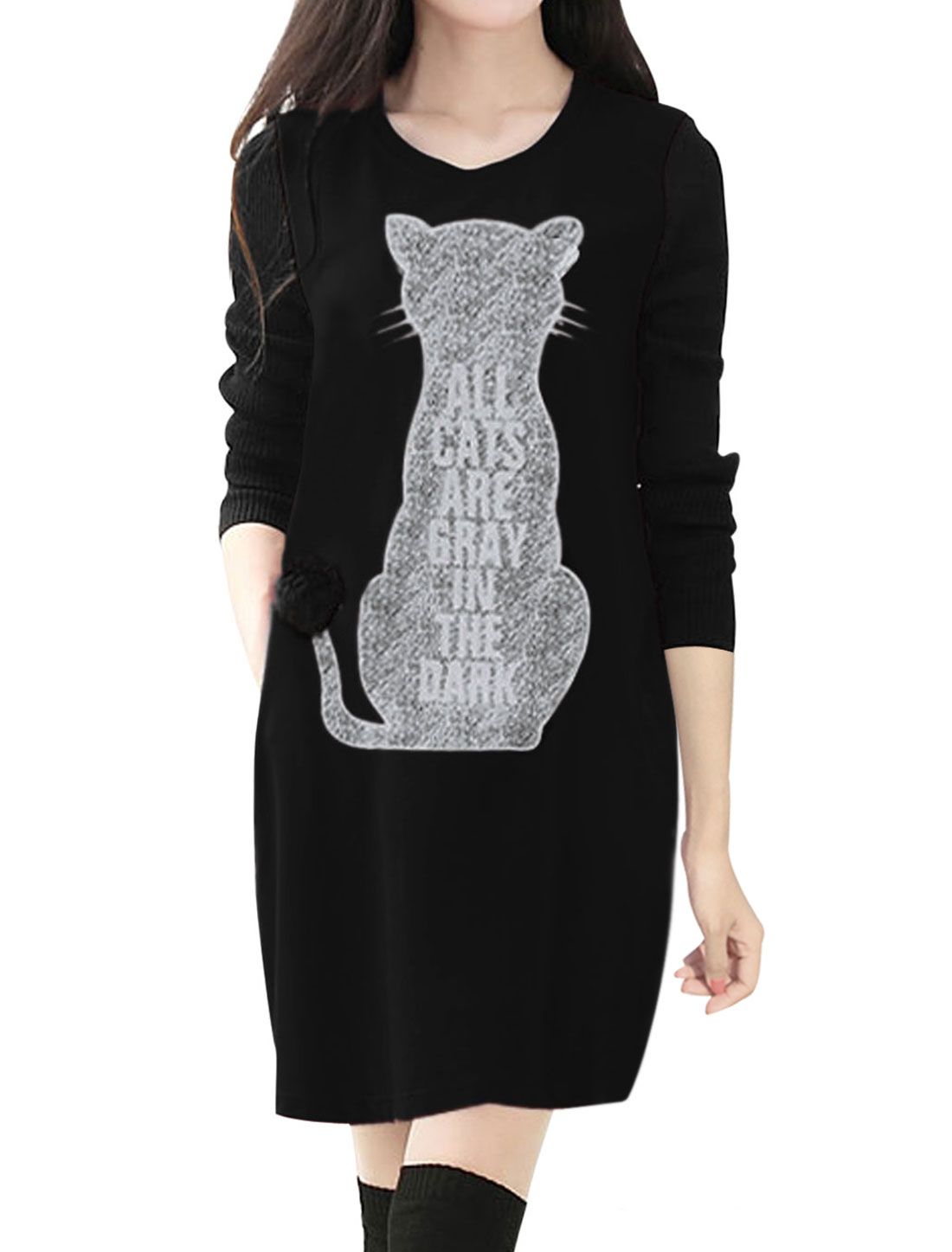 Ladies Black Pullover Cat Print Front Pockets Unlined Panel Dress S