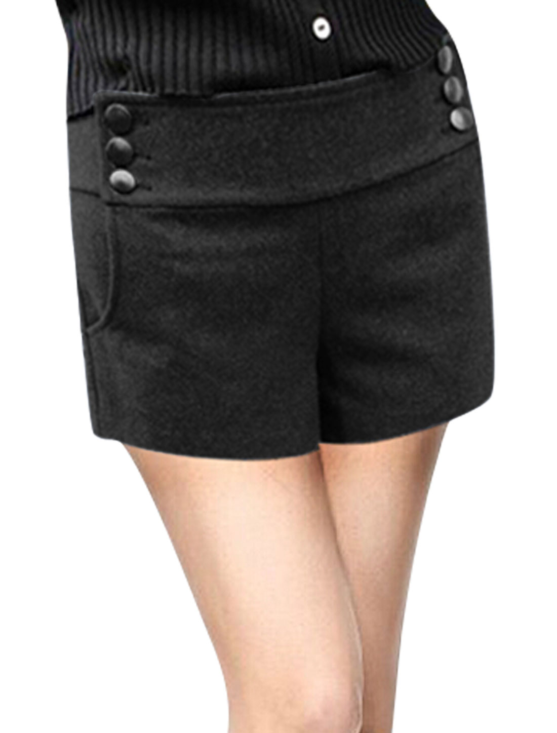 Women Mid Rise Button Up Sides Casual Worsted Shorts Black XL