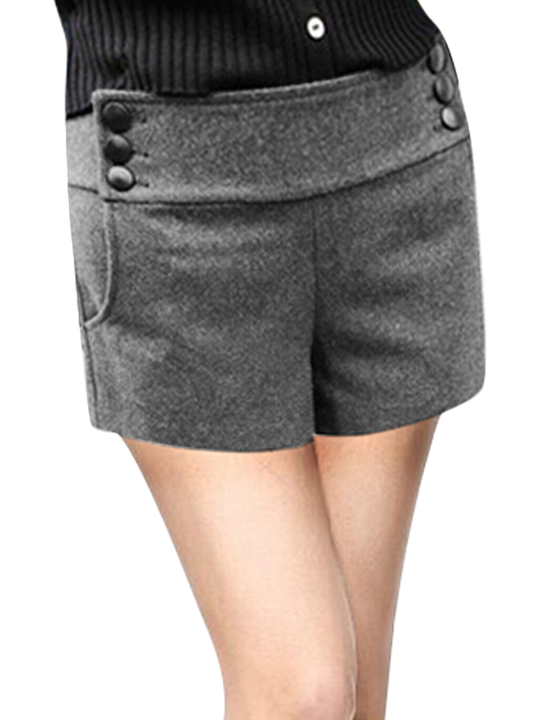 Woman Button Closed Sides Slant Pocket Dark Gray Worsted Shorts XL