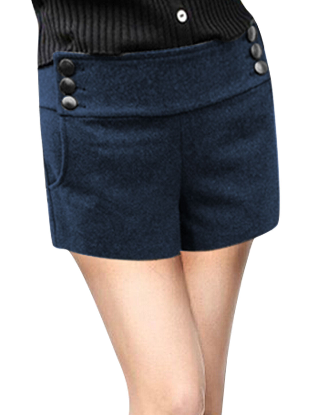 Natural Waist Button Up Sides Navy Blue Worsted Shorts for Women XL
