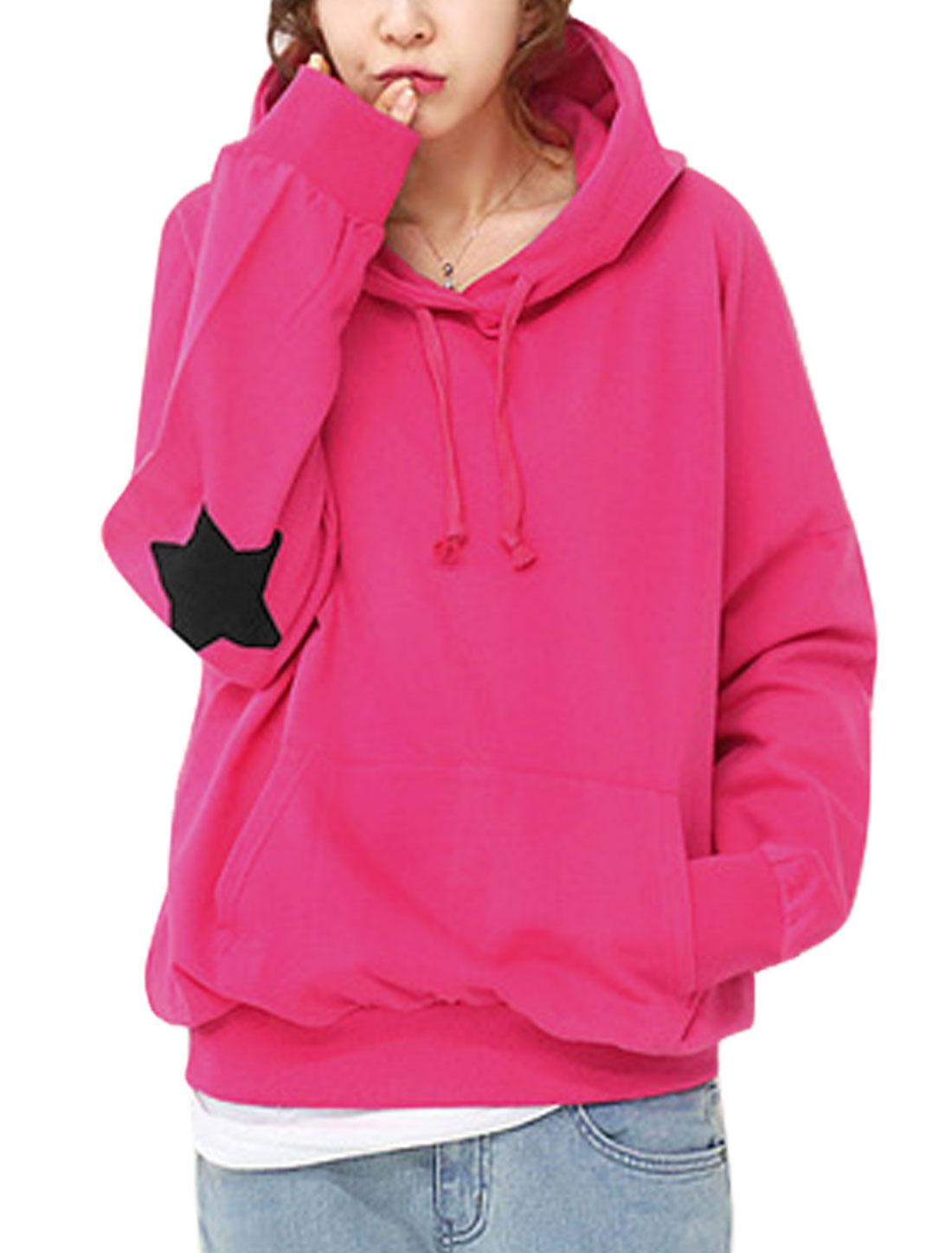 Ladies Fuchsia Pullover Drawstring Kangaroo Pockets Hoodie Sweatshirt XS