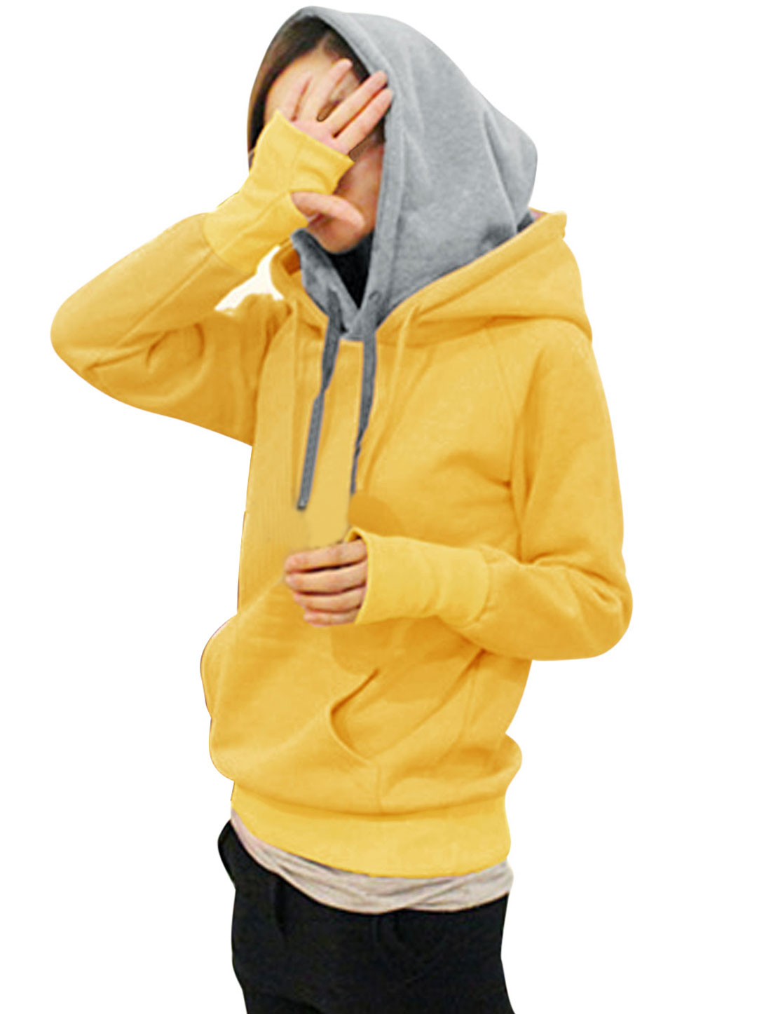 Ladies Kangaroo Pocket Drawstring Hoodie Sweatshirt Yellow XS