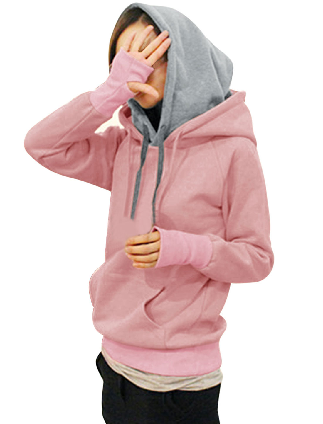 Ladies Layered Kangaroo Pocket Pullover Hoodie Sweatshirt Pink XS