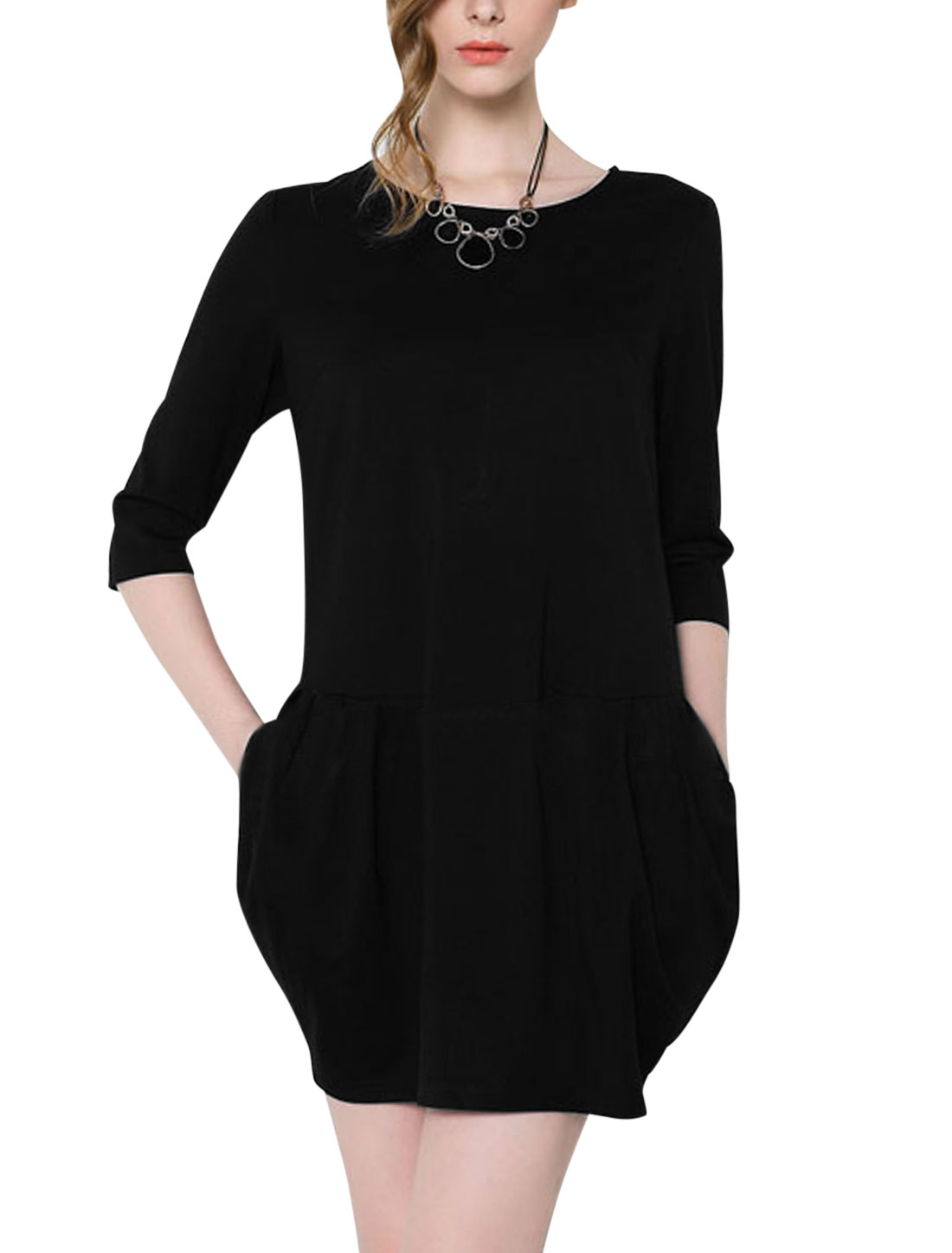 Ladies Black Zip Down Back Ruched Detail Unlined 3/4 Sleeves Dress M